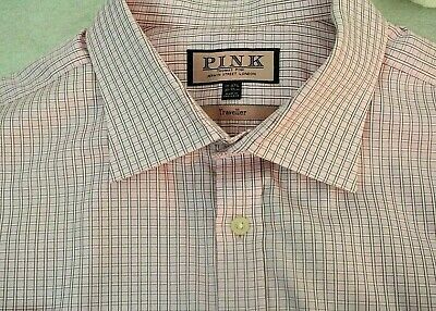 THOMAS PINK LONDON Shirt All Cotton Spread Collar Plaid Pink 19 -