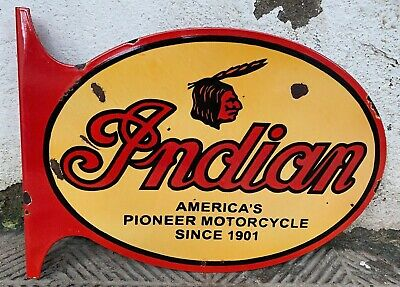 "Vintage ""Indian Motorcycle"" Porcelain Enamel Sign Double Sided Flange 23""x16""x2"""