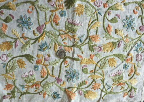 Vintage Antique c1920-1930s Hand Embroidered Silk & Metallic Ethnic Fabric~20x13