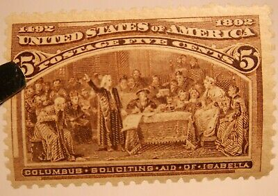 US #234 Mint Hinged Partial Gum 5c Columbus Soliciting the Aid of Isabella Post