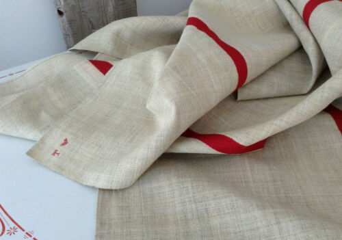 Antique French Hemp Linen Heavy Rustic Red Stripe  Homespun unsued 1900