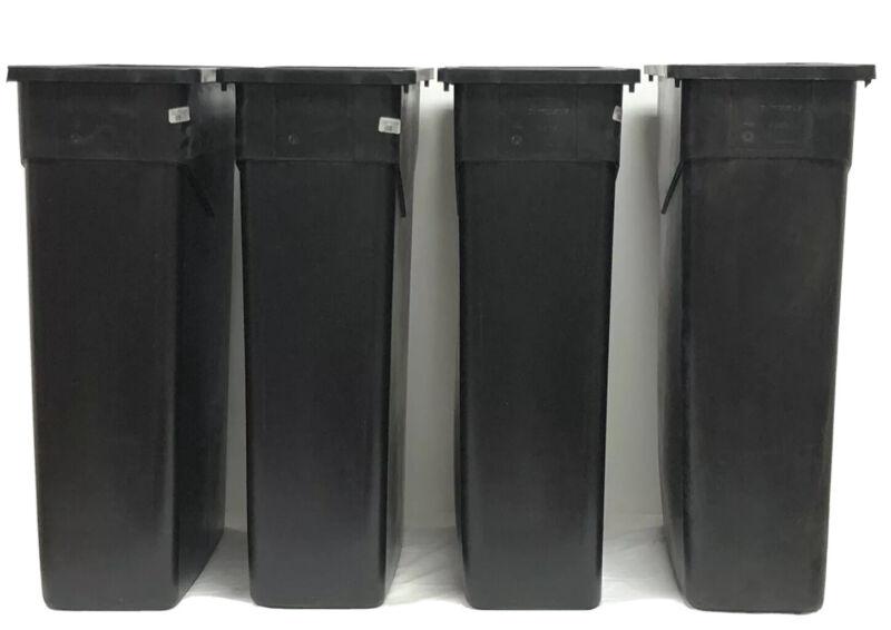 4 Trimline Trash Cans 23 Gallon Black Carlisle 34202303 New Polyethylene