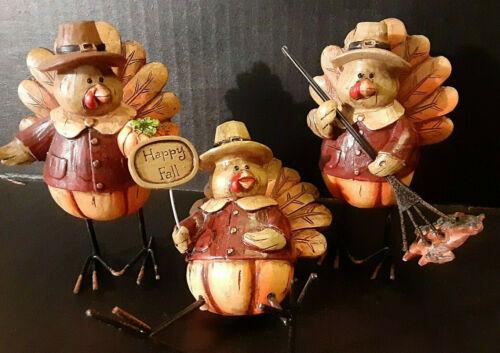 Fall / Harvest / Thanksgiving TURKEY Table Top Decor Set of 3  Evergreen 8TAR097