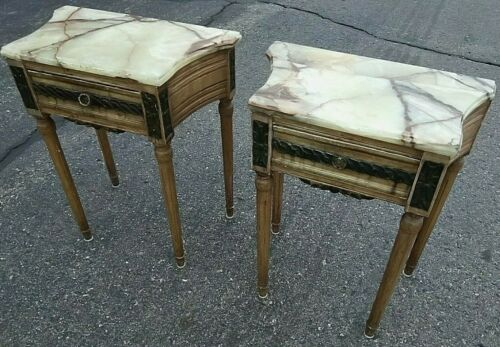 Pair Antique Italian Nightstands Table Marble Onyx Circa 1910