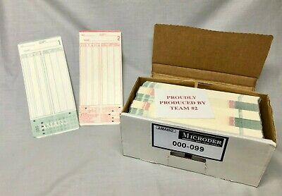Box Of 500 Amano Mjr Series Time Clock Cards 5 Packs Of 000-099