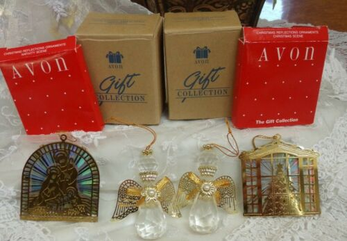Lot of 4 Vintage Avon Ornaments Angelic Reflections Christmas Reflections