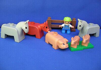 Duplo Farm Barn Animals Cow Horse Pig piglet baby boy Farmer fence set/lot VTG
