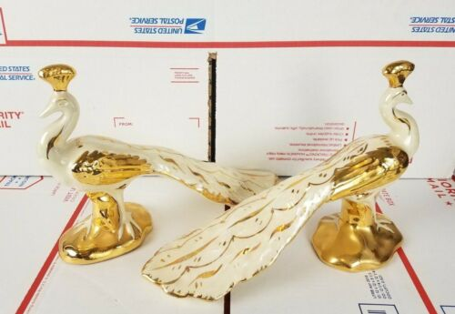 Lot of 2 Vintage MCM White & Gold Iridescent Peacock Ceramic Figurines USA Mold