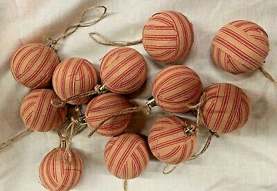 Red Balls (Red Striped/Primitive/Farmhouse/Christmas Balls/Set of 12/Christmas in July)