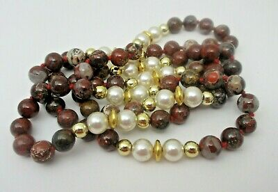 Red Jasper Knotted Beaded NECKLACE Simulated Pearl Gold Tone Accent Beads EUC