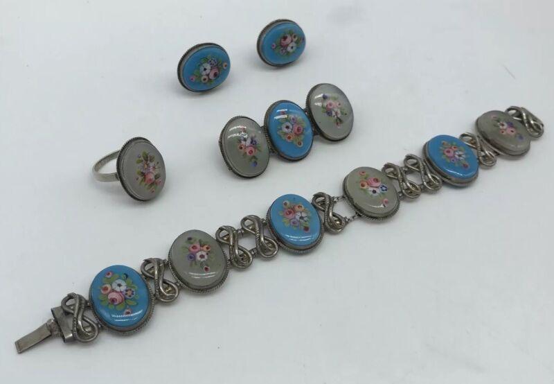 Antique Art Deco Sterling Silver Czech Glass Floral Jewelry Demi Parure Set