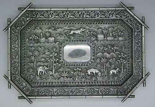 INDIAN ANGLO SILVER COLONIAL HUNT SCENE FOOTED CARD TRAY RARE ANIMALS TIGERS