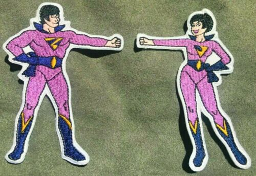 SUPER FRIENDS embroidered patch figure set WONDER TWINS justice league DC comics
