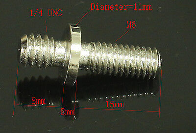 """1pcs long 1/4"""" Male Threaded to M6 Male Threaded screw Adapter for tripod camera"""