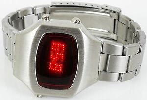LED-Armbanduhr Led-Uhr Herren Armbanduhr Space Age Vintage Matrix Display