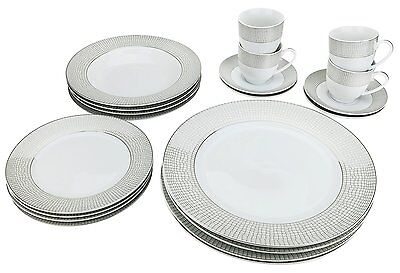 Classic Silver-plated Porcelain Dinner Service For Four 20-piece Dinnerware Set
