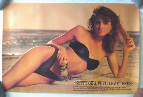 Vintage Beer Poster Miller Genuine Draft Pretty Girl On Beach Black Bikini 20x30