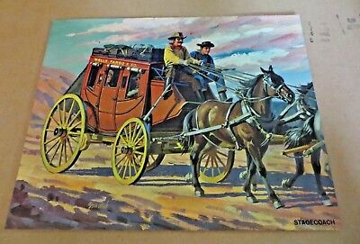 Vintage 1962 Teach A Chart Poster Early America Transportation Stagecoach #11