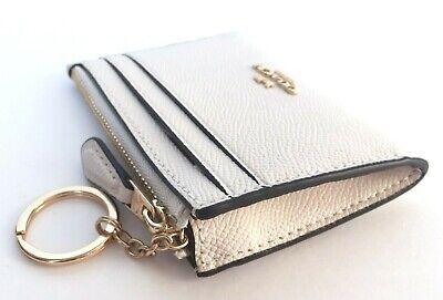 Coach Mini Skinny ID Case Card Coin Key Classic Wallet F88250 Chalk Leather Nwt