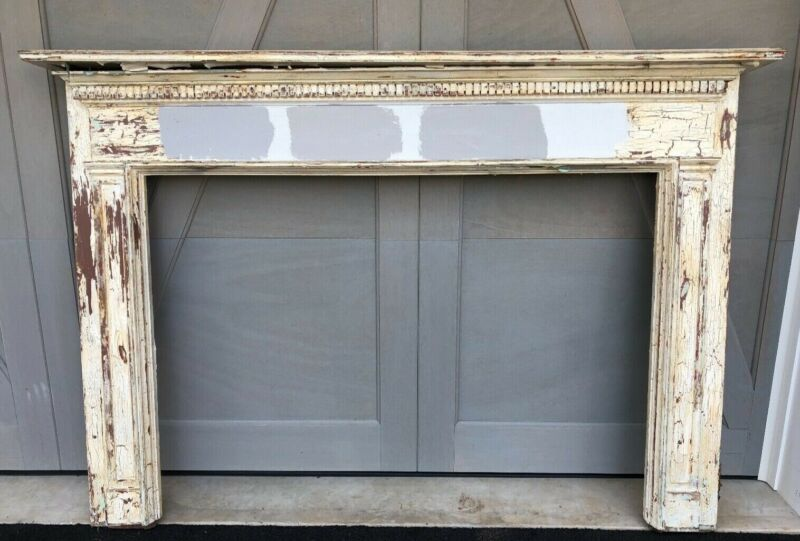 """Antique Vintage Salvaged Traditional Wood Fireplace Mantle 79"""" Wide x 55"""" High"""