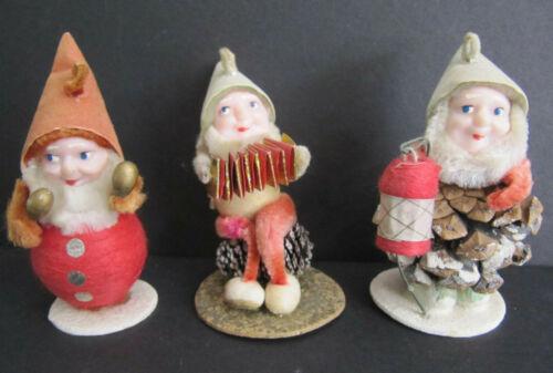 3 Vtg Christmas Pixie Elf Ornament PineCone Spun Cotton Chenille mixed JAPAN lot