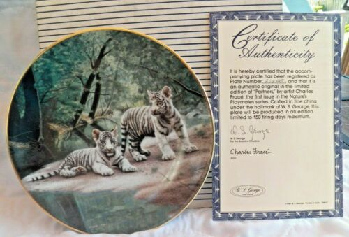 """Beautiful Bradex White Tiger Collector Plate """"PARTNERS"""" 1st.Issue Platymate COA"""