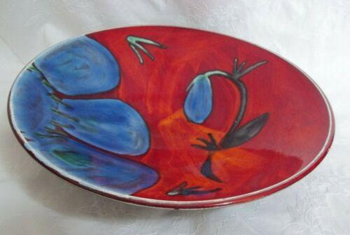 "Poole Pottery Ceramic Red/Blue Flower Bowl England 10.5"" Dia: SHE"