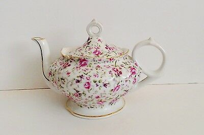 Lefton Musical Teapot Chintz Roses Music Box Tea Pot Plays Memory from Cats