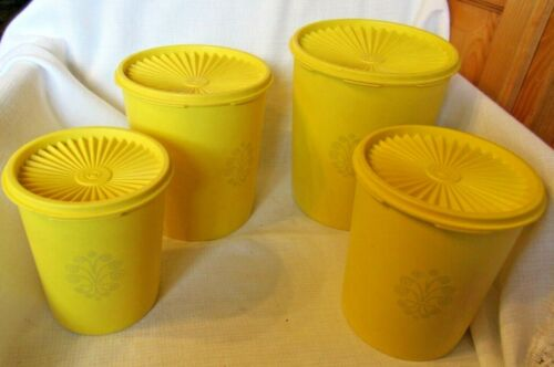 Tupperware Nesting Canisters   Set of 4  Daffodil Yellow