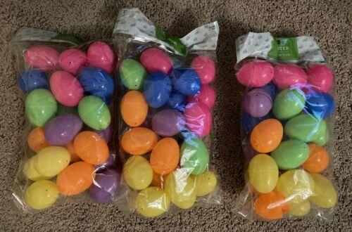 72 Bulk Plastic Easter Basket Eggs Multi color bright Fillable empty lot filler