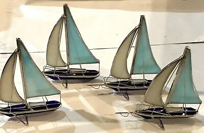 4-Piece Set Stained Glass 6 inch Sailboats Sun Catchers  [9023-O]