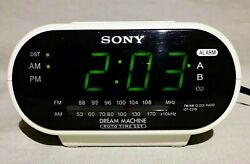 Sony Dream Machine ICF-C318 Automatic Time Set Dual Alarm Clock Radio White