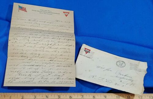 1919 YMCA Letter Envelope Stationary 3 Pages WWI Army & Navy RARE VTG Antique
