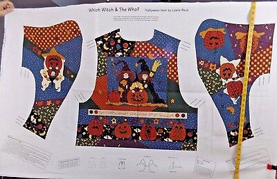 WHICH WITCH THE WHO HALLOWEEN VEST MISSES SIZES SM MD LG  COTTON FABRIC PANEL   ](Which Halloween)