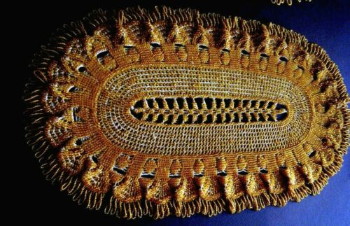 Victorian Runner H crocheting &fully beading Amber seed glass beads England
