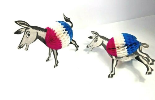 Vintage Honeycomb Donkeys Democratic Party Decorations Made in Denmark 1960