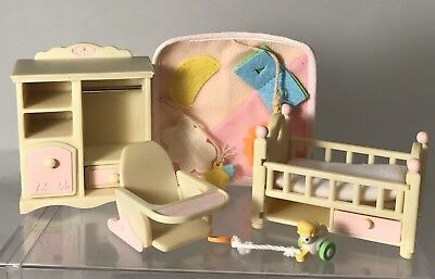Calico Critters Baby Nursery Dollhouse Furniture Crib Armoire High Chair Toys for sale  Harrison