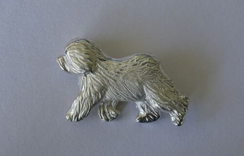 Large Sterling Silver Old English Sheepdog Moving Study Brooch