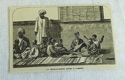 1882 magazine engraving ~ INDIAN ORPHAN HOUSE after a famine