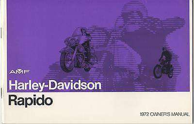 1972 Harley Davidson Motorcycle Rapido Owner's Manual P/n 99476-72