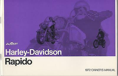 1972 Harley Davidson Motorcycle Rapido Owner's Manual P/n 99476-72