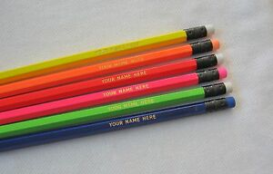 12-HEXAGON-Asst-NEON-Personalized-Pencils-w-GOLD-text