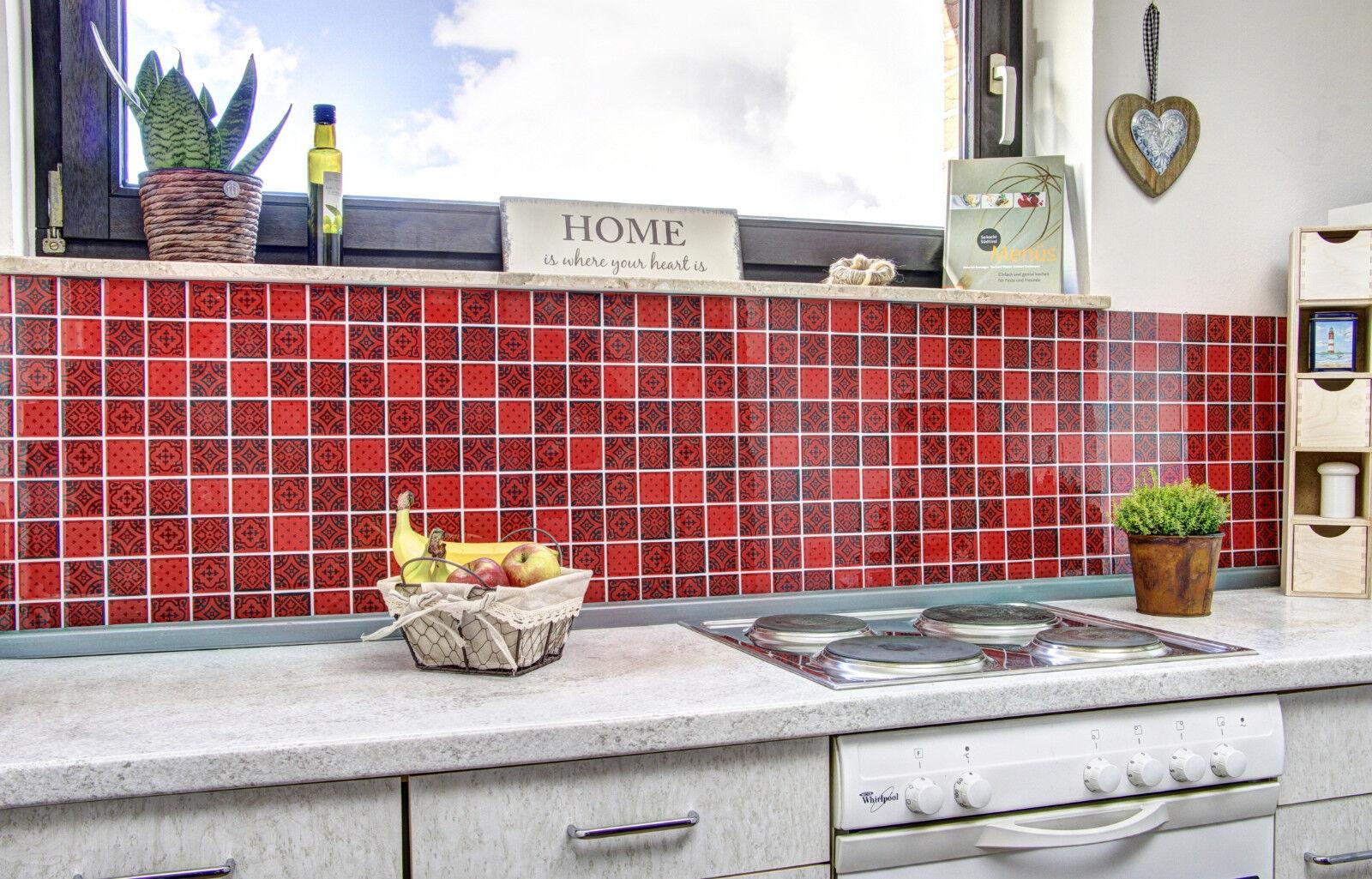 Küchenrückwand Fliesenspiegel Glas Mosaik Design Optik rot Art: 78B ...