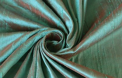 Robin's Egg Blue Red Orange iridescent 100% Dupioni Silk Fabric Yardage - Robin's Egg
