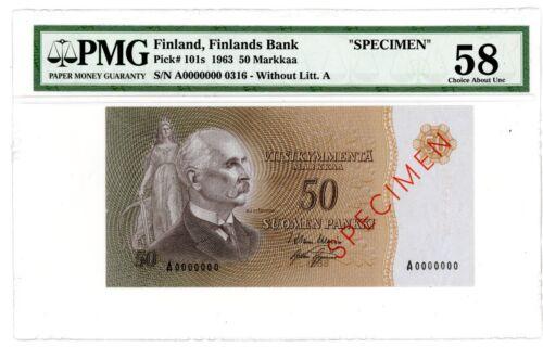"Finland ... P-101s ... 50 Markkaa ... 1963 ... Ch*UNC* ... PMG 58  ""SPECIMEN""."