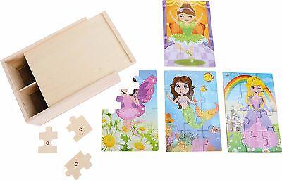 Puzzle Box 4 in 1 Mädchen im Kostüm 12 Teile aus Holz Holzpuzzle Set für Kinder