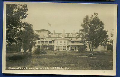 Winter Harbor Maine me Grindstone Inn real photo postcard RPPC