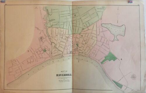 City of Haverhill, Massachusetts Lithograph Map 1884