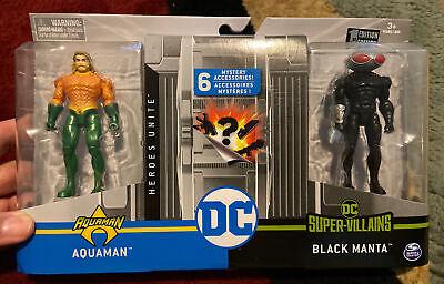 DC Heroes Unite 4 Inch AQUAMAN vs. BLACK MANTA Action Figure 2 Pack - RARE! 1st