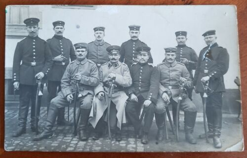 WW1 German Officers And Soldiers At Front Postcard 1914 - Original